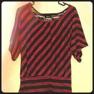 XL pink and black top